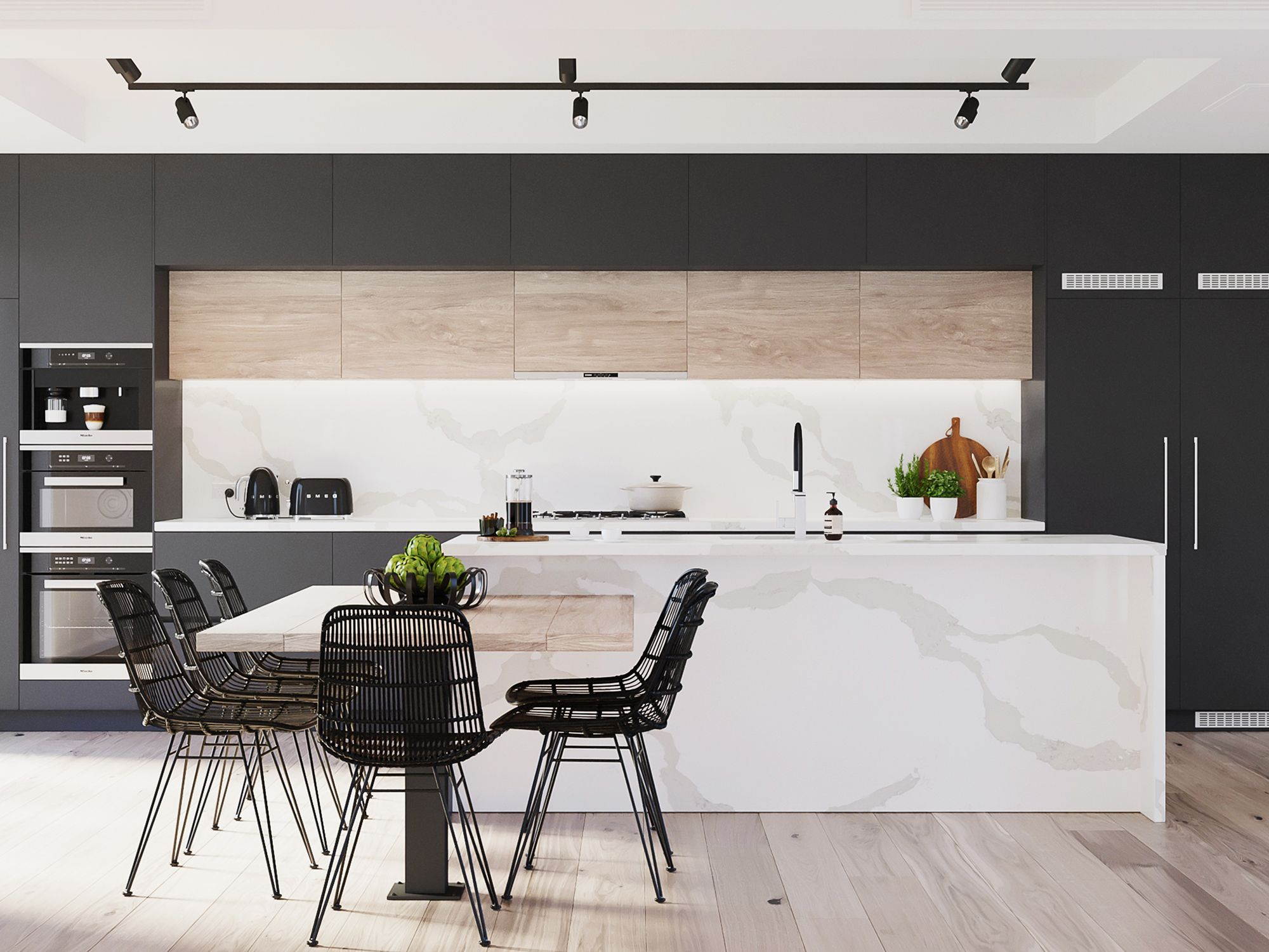 Kitchen island clad in the Calacatta Maximus surface, from Caesarstone