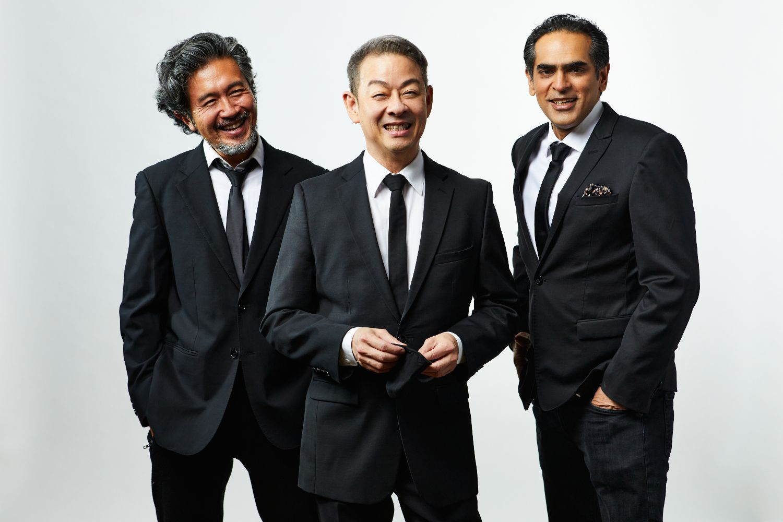 From left: Pangdemonium's Adrian Pang, Wild Rice's Ivan Heng and Singapore Repertory Theatre's Gaurav Kripalani (Image: The Pitch)