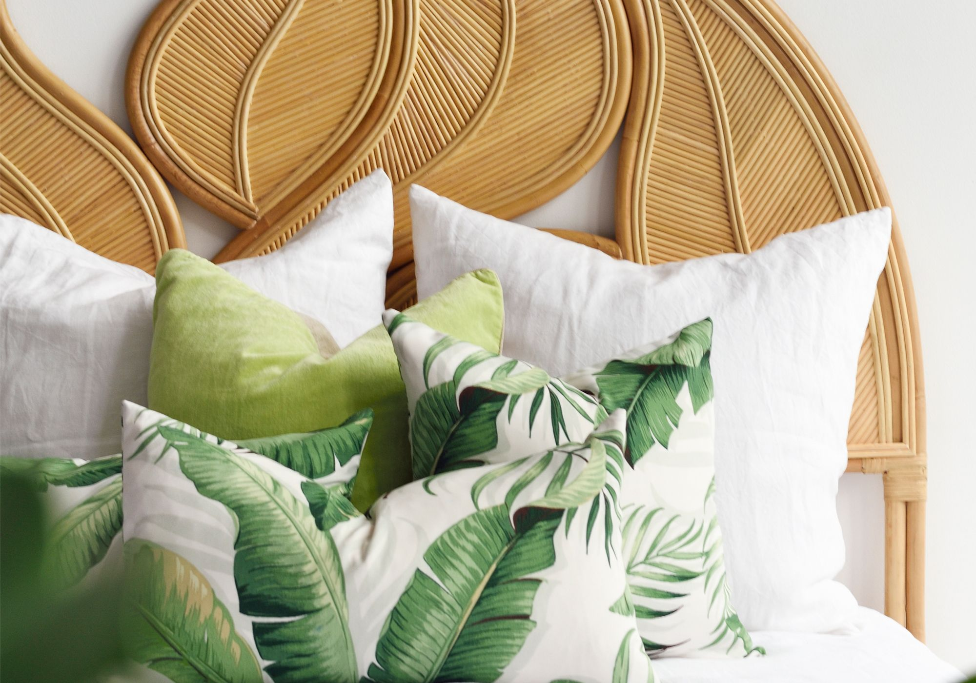 Island Living by Cocoon banana leaf palm headboard, from Island Living