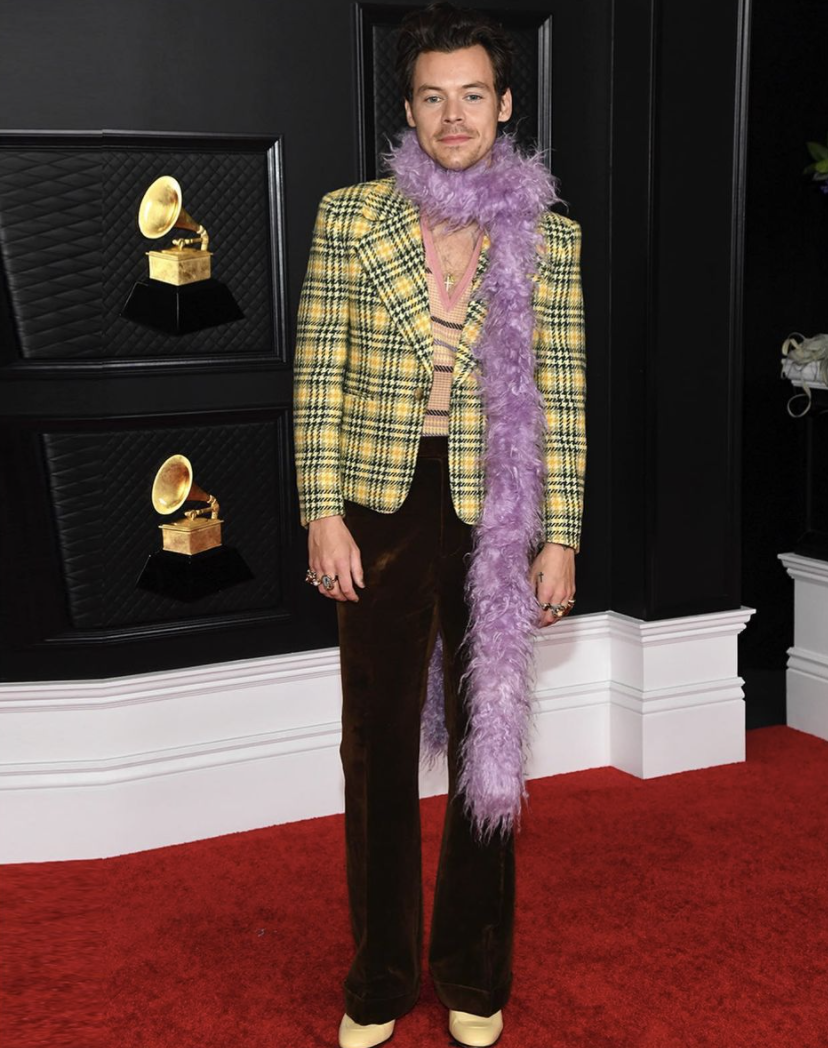 Harry Styles Opens Grammys 2021 With a Feather Boa: 8 of His Best Fashion Moments