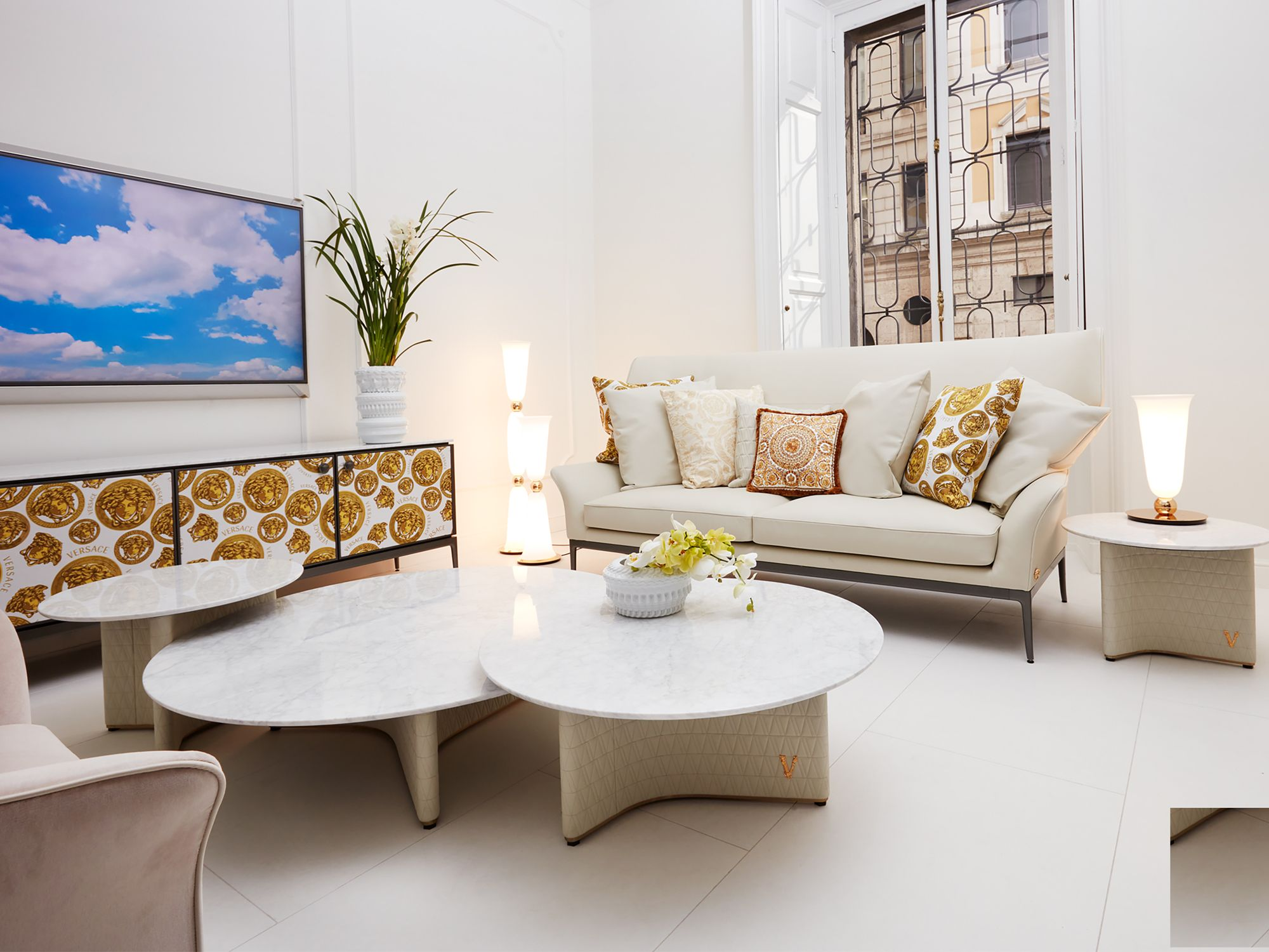 The Versace Home flagship features distinctive colour palettes in different areas; this one pictured here displays a chic monochromatic white theme