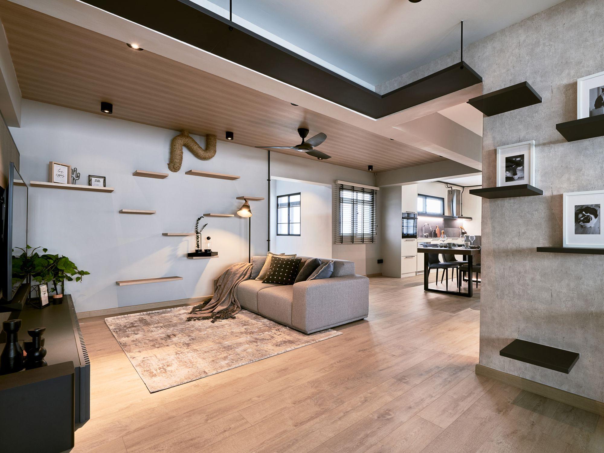 A pet-friendly living room designed by Mr Shopper Studio,