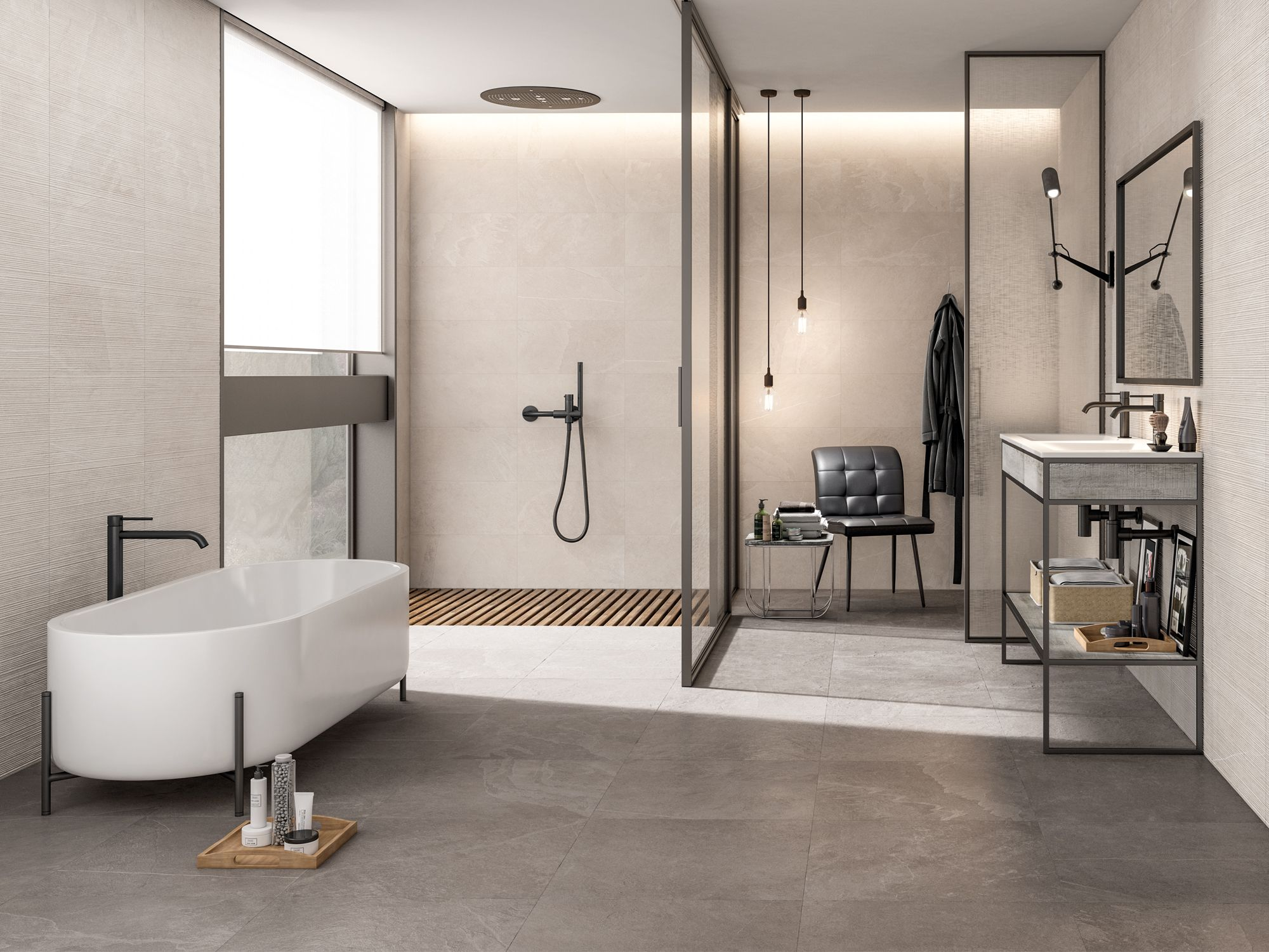 Cifre Overland sand and greige glazed porcelain tiles in a matte finish, from Hafary