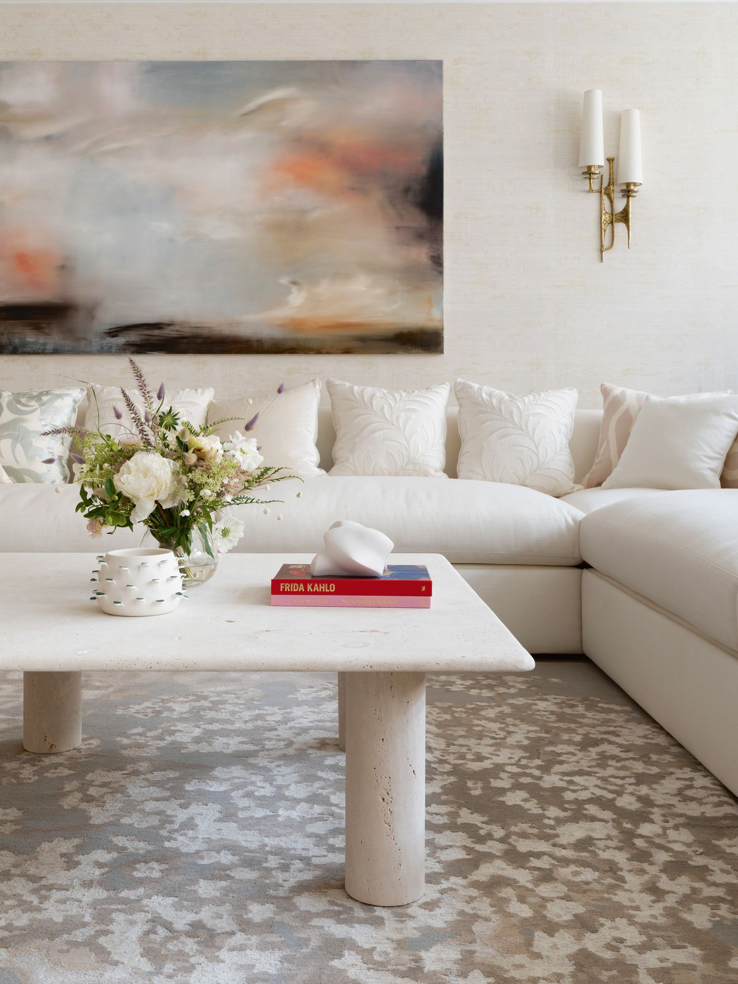 An abstract work by UK artist J R Swaby livens up a corner of the living room
