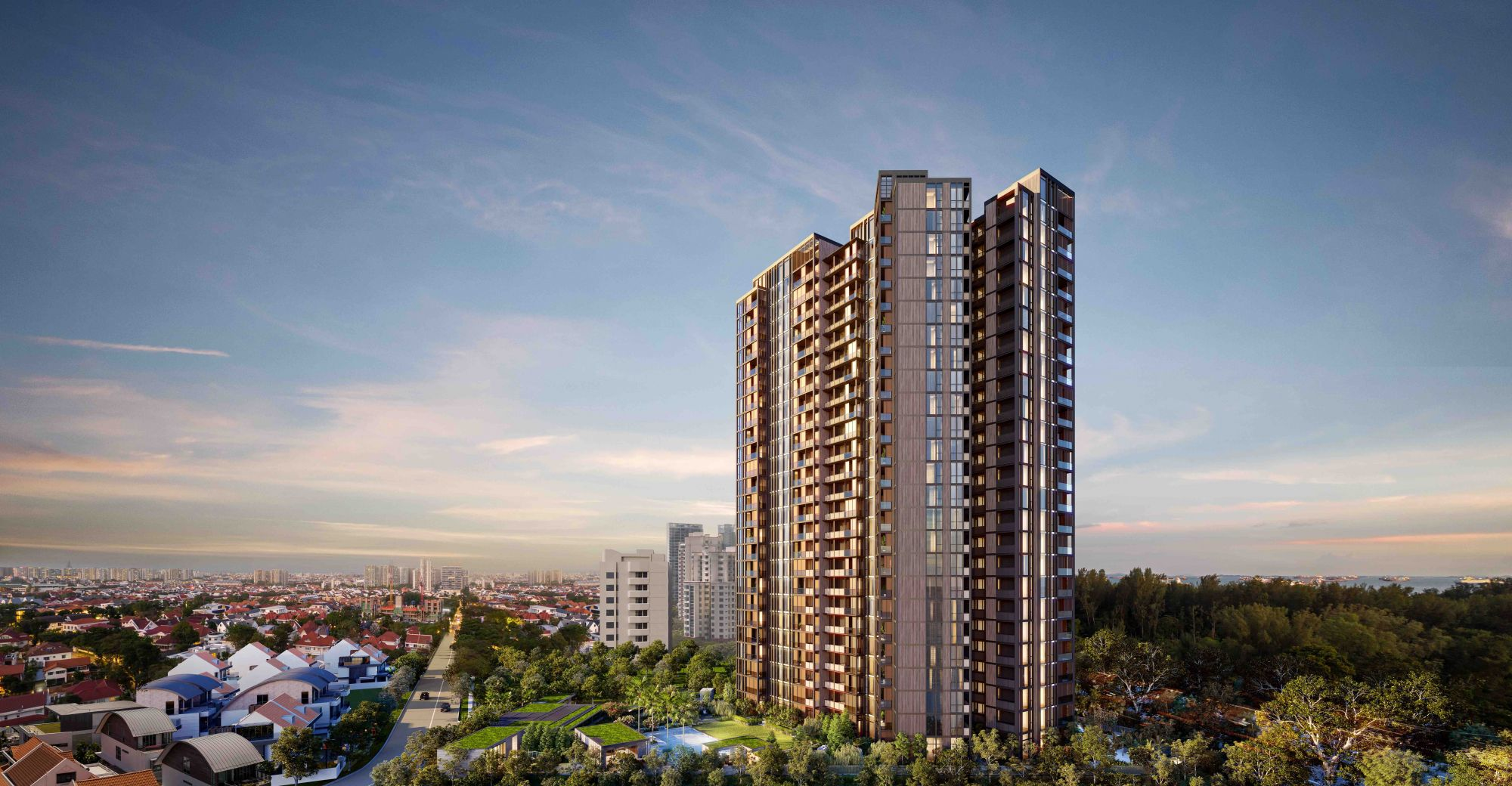 Green areas such as gardens and communal facilities take up 80 per cent of the site area of GuocoLand's latest developments such as Midtown Modern, Martin Modern and Mayer Mansion, pictured above. Image: GuocoLand