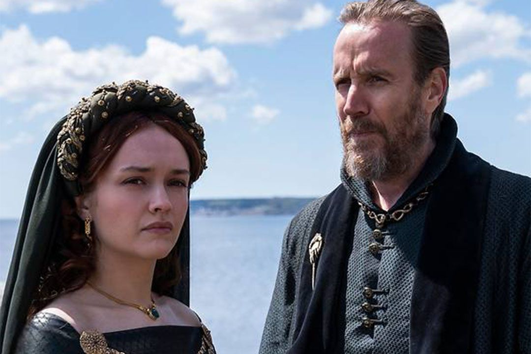 Olivia Cooke as Alicent Hightower and Rhys Ifans as Otto Hightower in House Of The Dragon. Photo: HBO