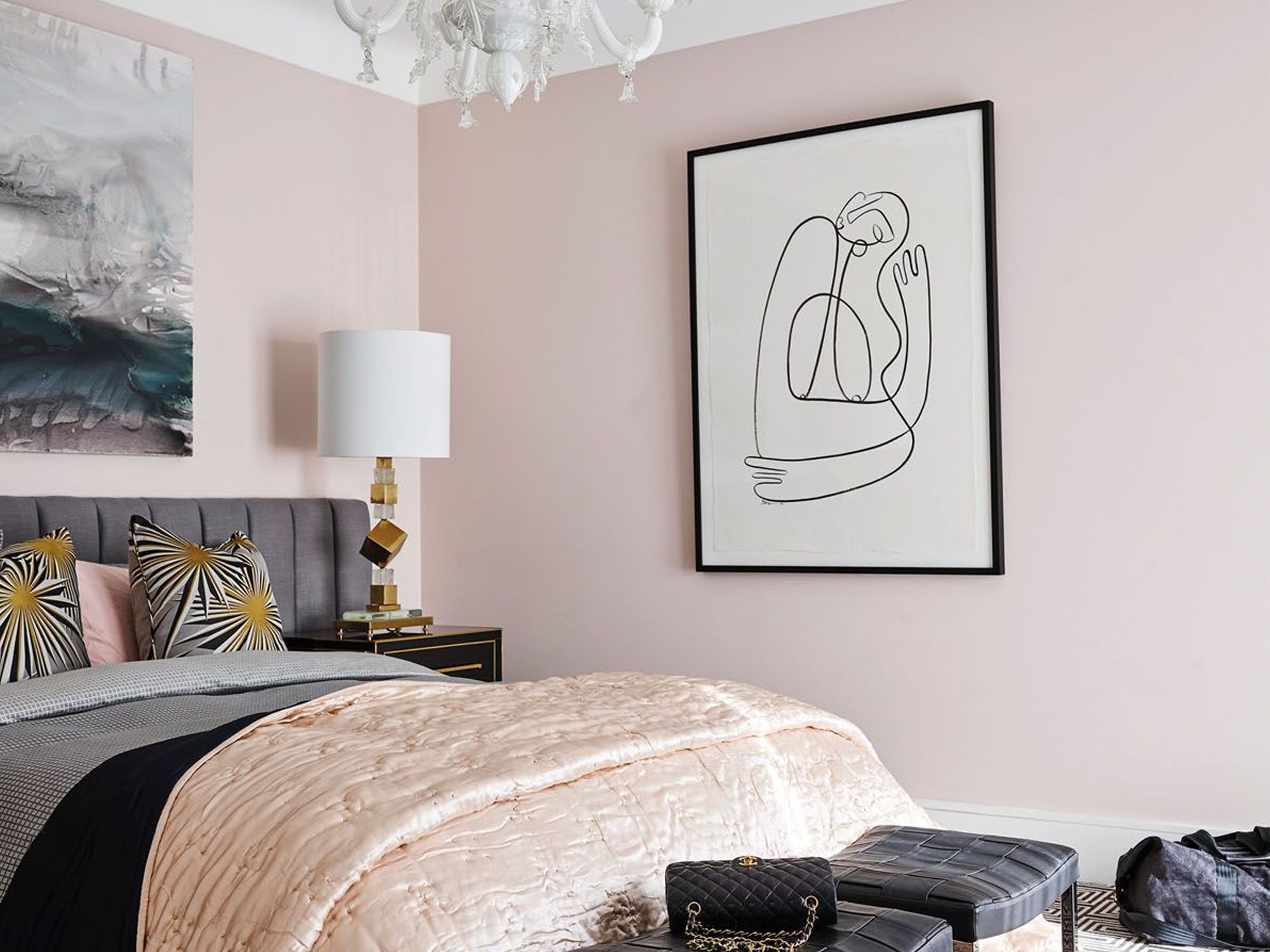 The vintage Murano glass chandelier hanging from this bedroom adds an elegant touch to the pink space Photo: Greg Natale