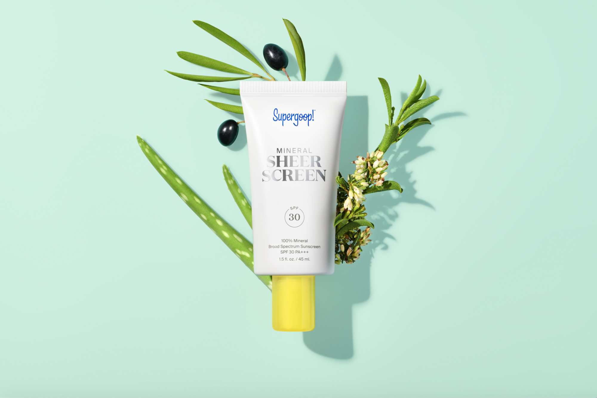 """Supergoop Mineral Sheerscreen SPF 30 is a sheer, weightless, 100% mineral daily sunscreen lotion that also helps shield skin from blue light. <a href=""""https://www.sephora.sg/products/supergoop-mineral-sheer-screen-spf-30/v/45ml"""">SHOP HERE</a>"""