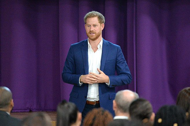 Prince Harry attends a school assembly during his visit to Nottingham Academy to mark World Mental Health Day in 2019. Photo: Eamonn M. McCormack/Getty Images