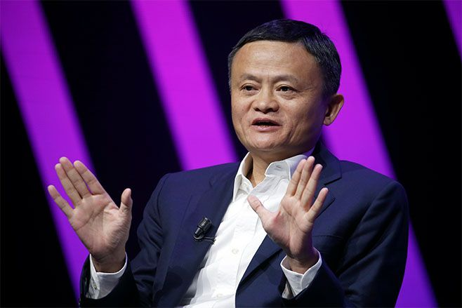 Chairman of Alibaba Group Holding Ltd. Jack Ma delivers a speech to participants during the 4th edition of the Viva Technology show in 2019. Photo: Chesnot/Getty Images