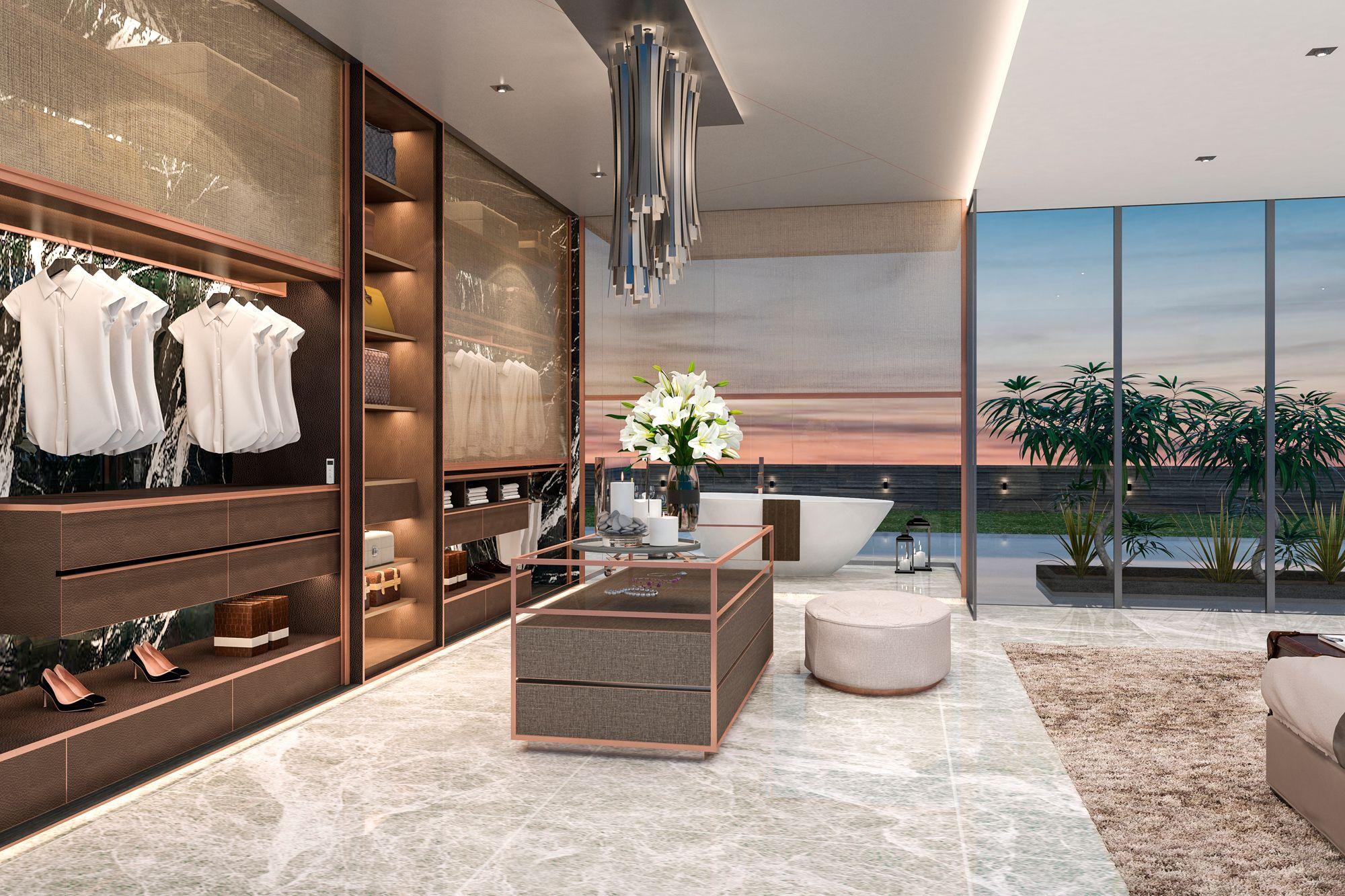 Conçu par HYID, ce concept de chambre à coucher utilise le système de stores intérieurs Ziptrak comme portes de garde-robe et écrans d'intimité dans la salle de bain