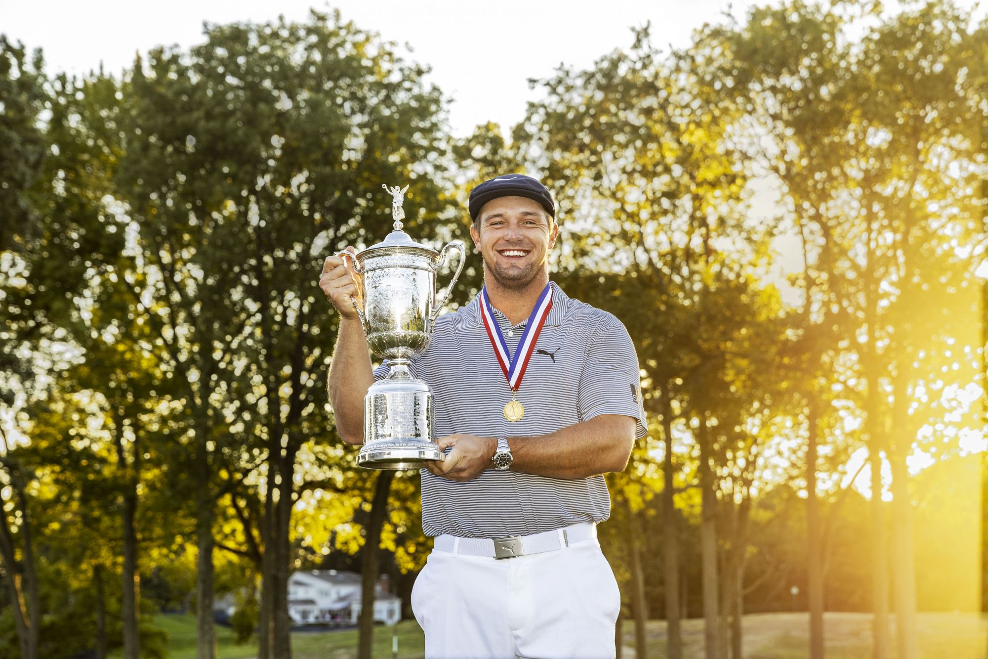 Bryson DeChambeau holds the U.S. Open trophy during the final round at the 2020 U.S. Open at Winged Foot Golf Club (West Course) in Mamaroneck, N.Y. on Sunday, Sept. 20, 2020. (Chris Keane/USGA)
