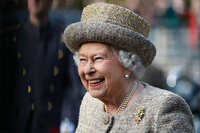 Queen Elizabeth II smiles as she arrives before the Opening of the Flanders' Fields Memorial Garden at Wellington Barracks. Photo: Stefan Wermuth - WPA Pool /Getty Images