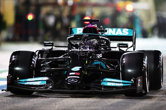 Lewis Hamilton driving the Mercedes AMG Petronas F1 Team Mercedes W12 in the Pitlane during the F1 Grand Prix of Bahrain in 2021. Photo: Peter Fox/Getty Images
