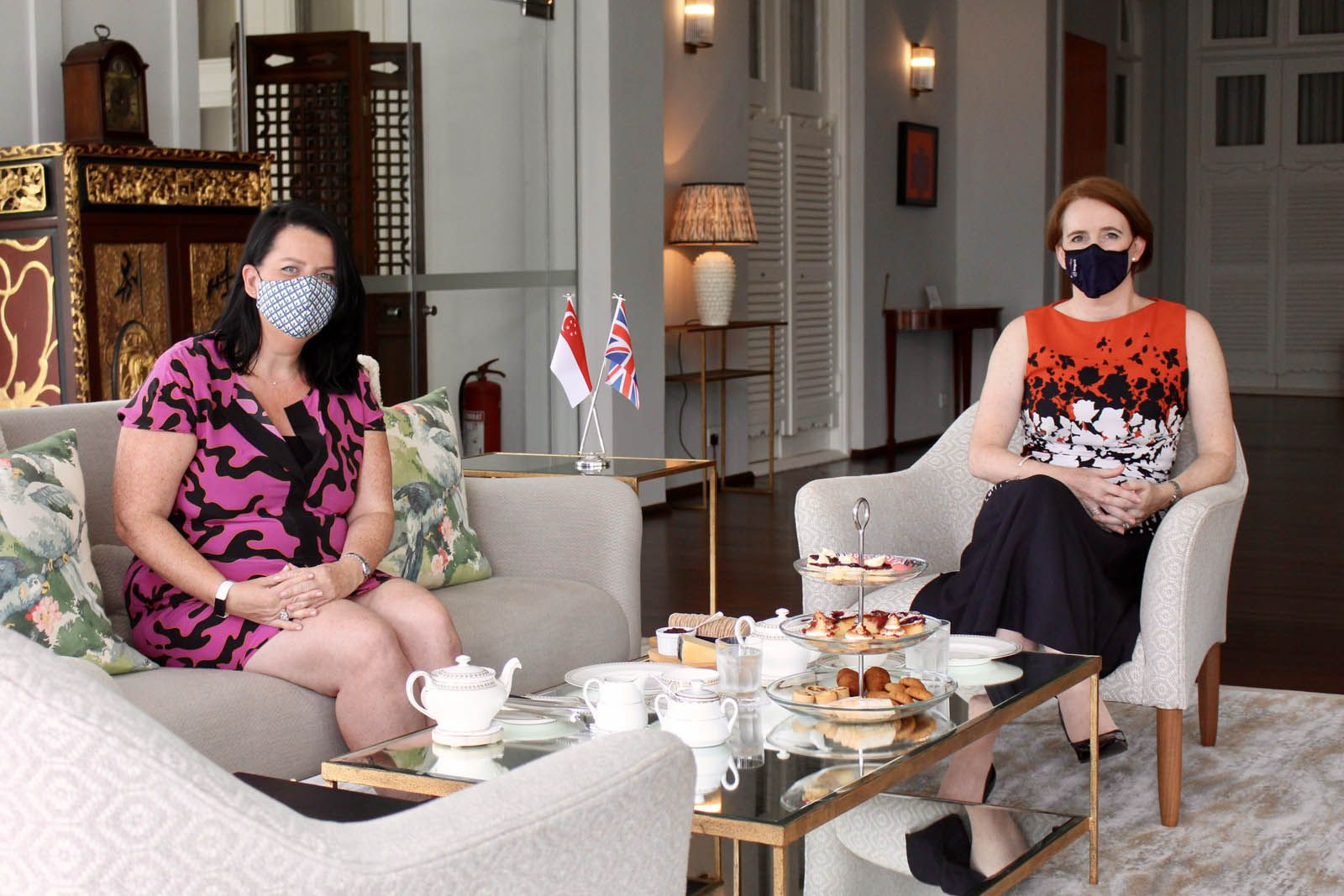 Her Excellency Kara Owen, right, and Charlotte Wilkinson, co-founder of Singapore Restaurant Rescue, left, having afternoon tea at Eden Hall