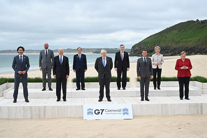 Canadian Prime Minister Justin Trudeau, President of the European Council Charles Michel, US President Joe Biden, Japanese Prime Minister Yoshihide Suga, British Prime Minister Boris Johnson, Italian Prime Minister Mario Draghi, French President Emmanuel Macron, President of the European Commission Ursula von der Leyen and German Chancellor Angela Merkel, pose for the Leaders official welcome during the G7 Summit. Photo: Leon Neal - WPA Pool/Getty Images