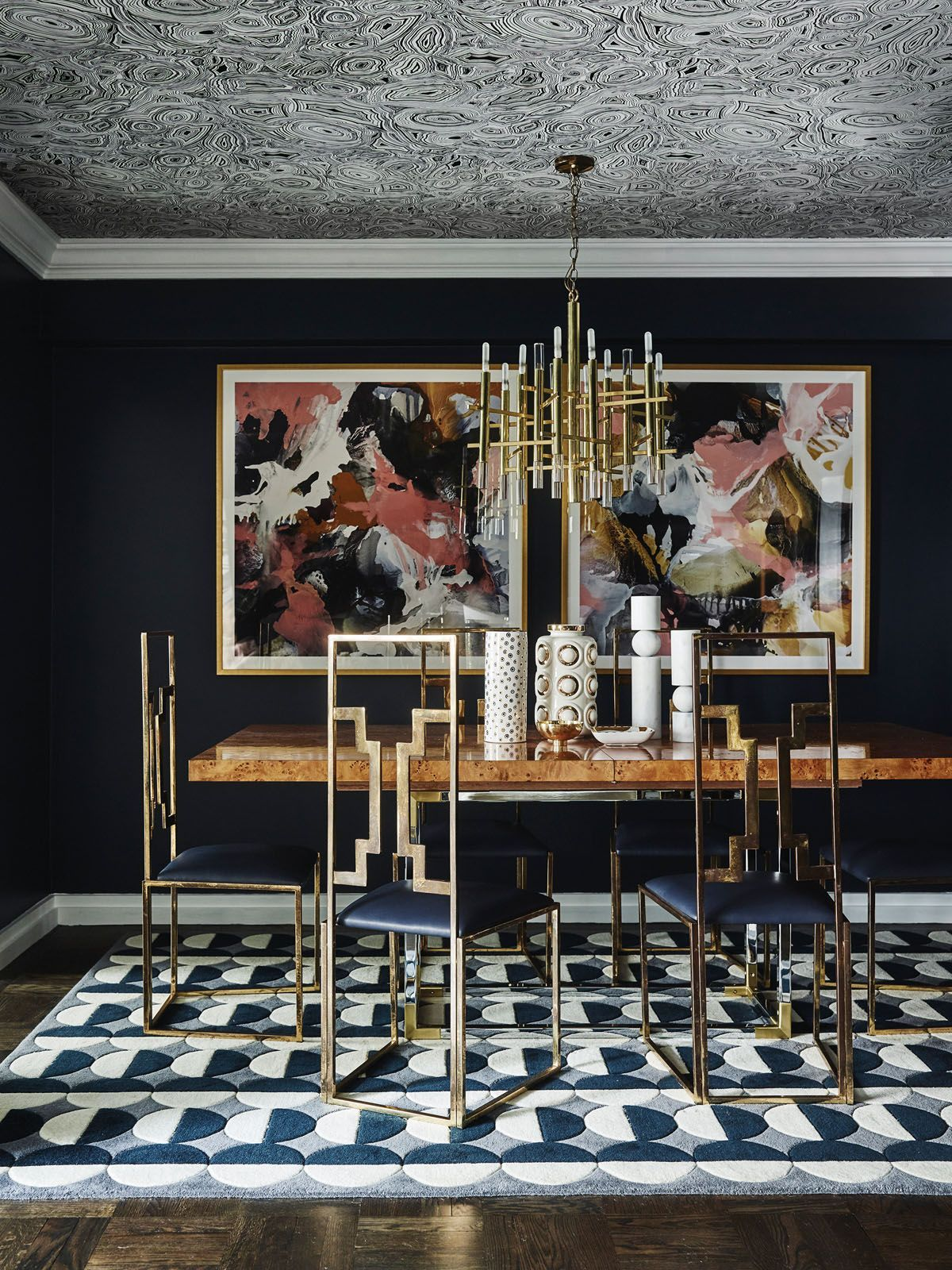 Glamorous and dramatic, interior designer Greg Natale added visual contrast to this moody dining room with striking furnishings Photography: Anson Smart, courtesy of Rizzoli New York