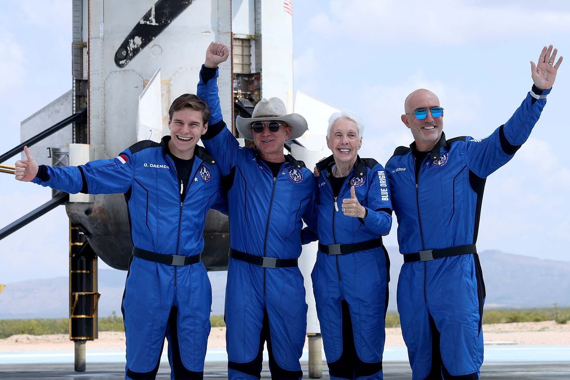 Blue Origin's New Shepard crew Oliver Daemen, Jeff Bezos, Wally Funk, and Mark Bezos. (Photo: Getty Images)