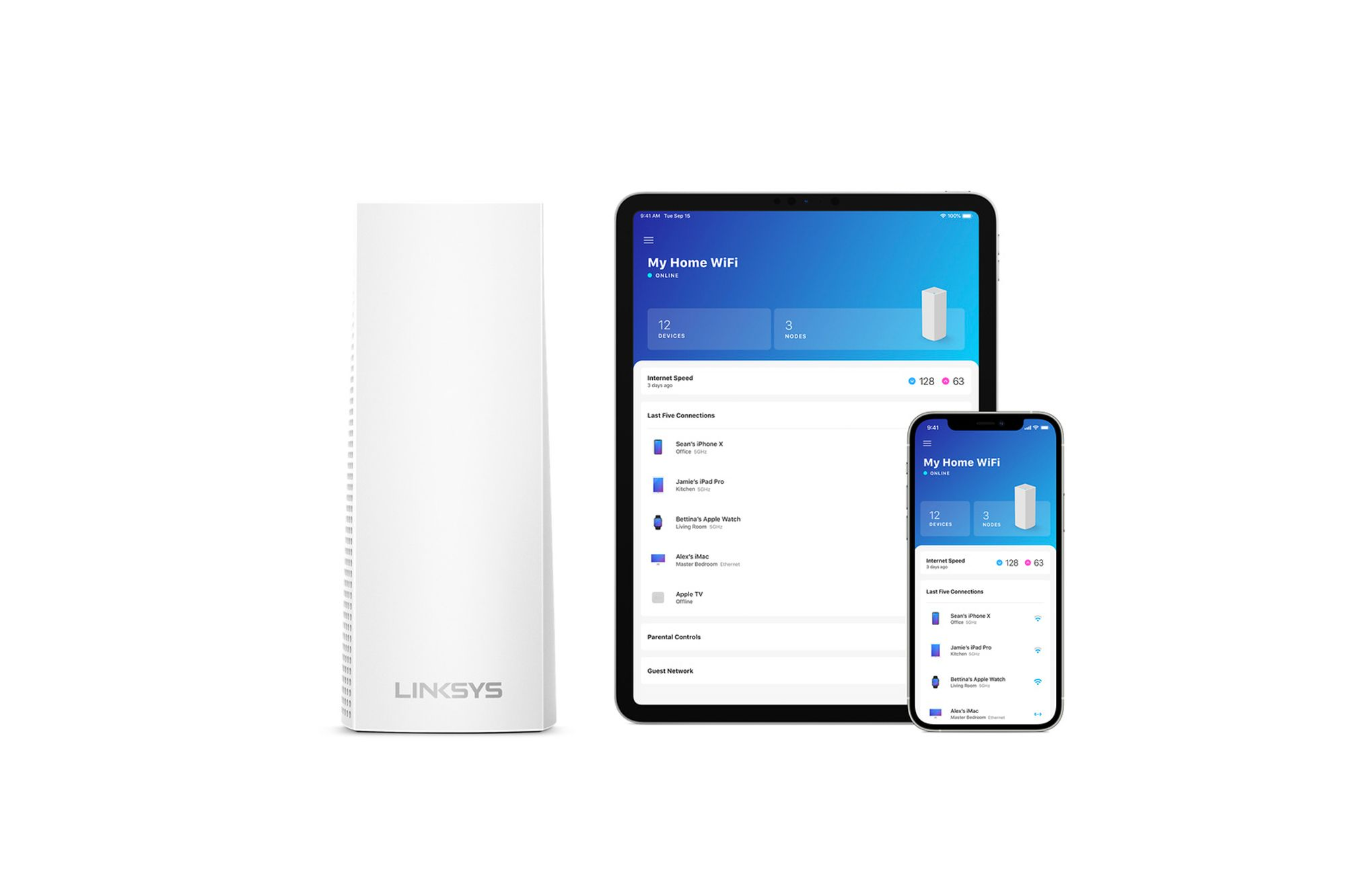 The Linksys Velop AX4200 mesh wifi system allows you to manage the devices connected to the network through Apple HomeKit  Image: Courtesy of Apple