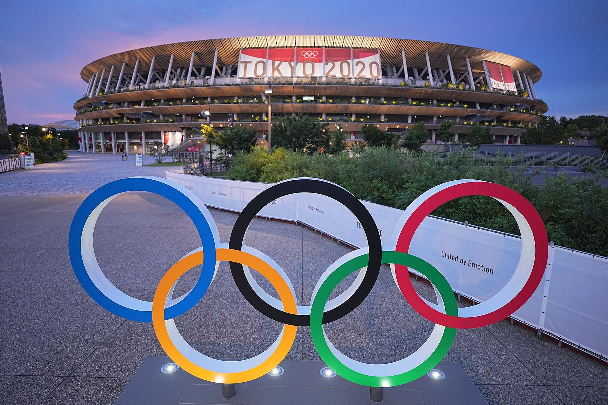 Olympic rings stand in front of the Olympic Stadium. (Photo: Getty Images)