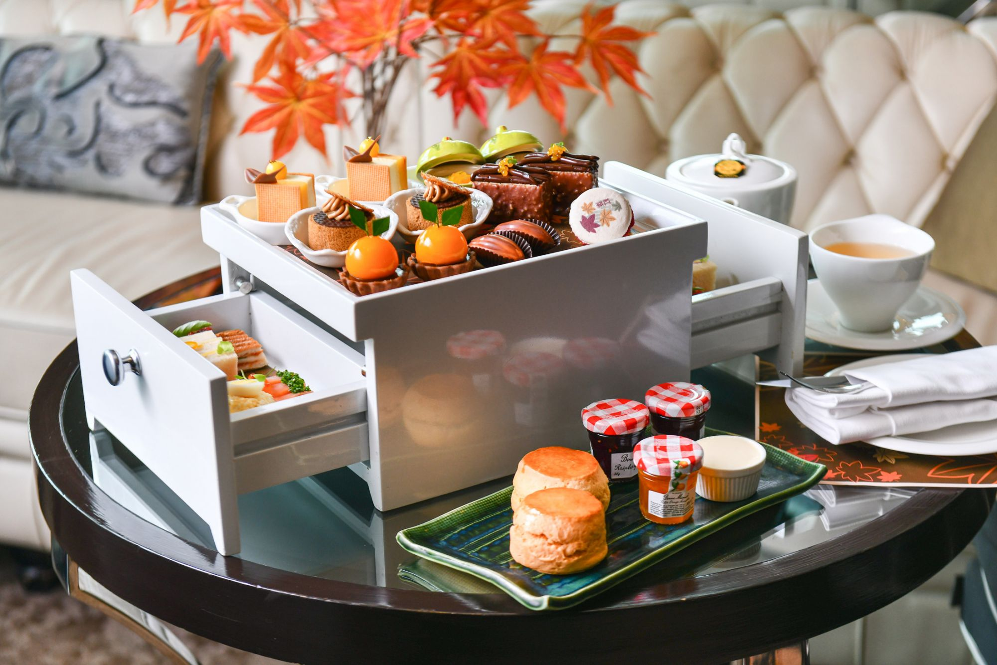 Autumn Orange Afternoon Tea At Up & Above Bar