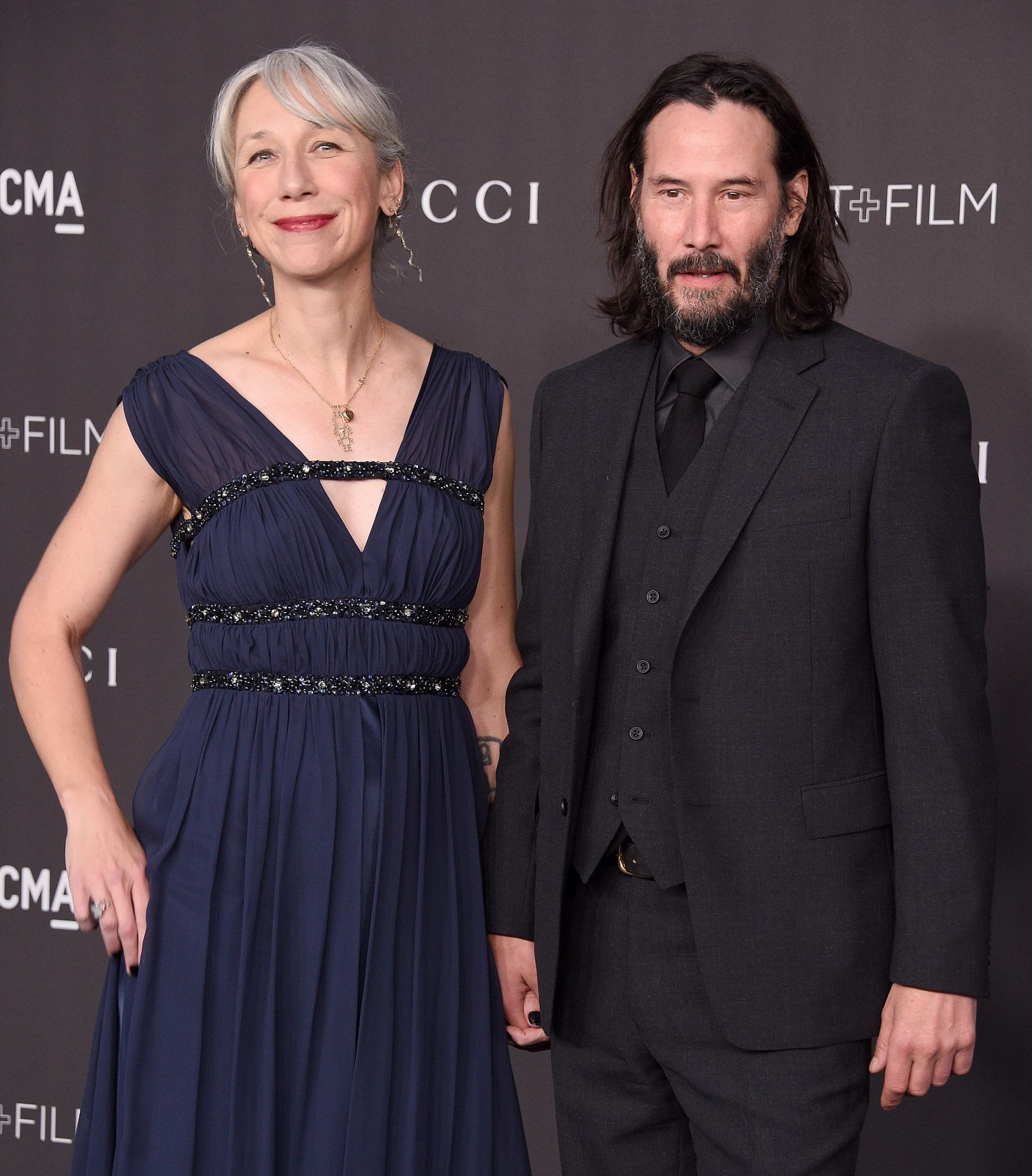 LOS ANGELES, CA - NOVEMBER 02:  Keanu Reeves and Alexandra Grant arrive at the 2019 LACMA Art + Film Gala Presented By Gucci on November 2, 2019 in Los Angeles, California.  (Photo by Gregg DeGuire/FilmMagic)
