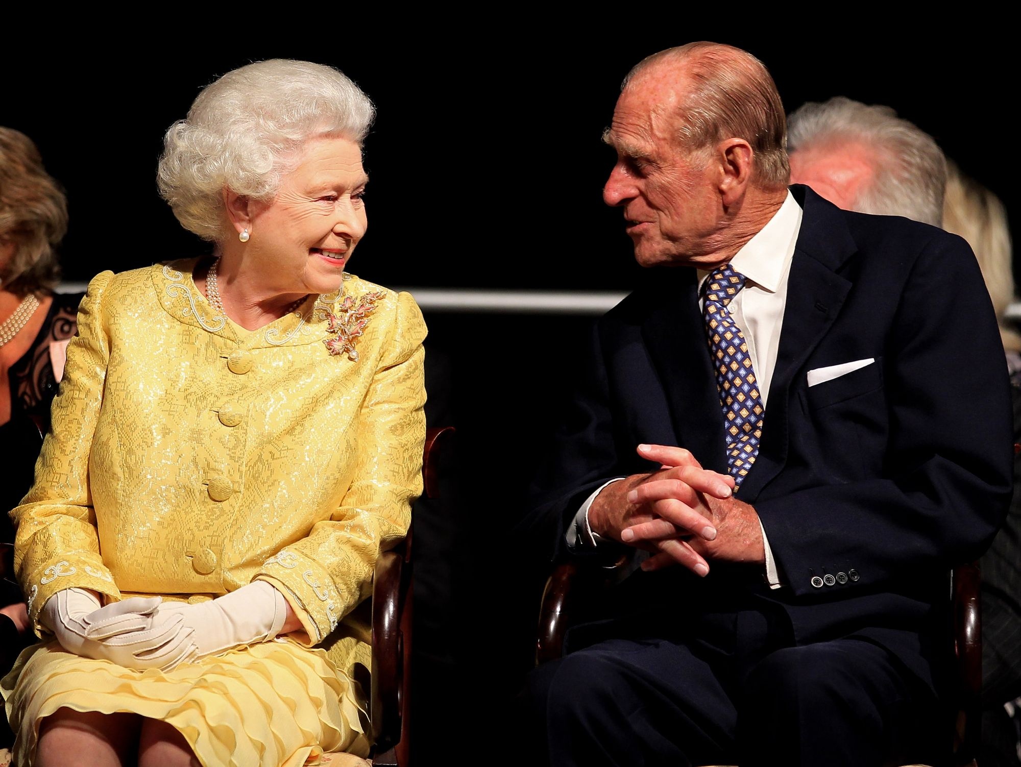 "HALIFAX, NS - JUNE 29:  Queen Elizabeth II and Prince Philip, Duke of Edinburgh attend a reception for ""A Celebration of Novia Scotia"" at the Cunard Centre on June 29, 2010 in Halifax, Canada. The Queen and Duke of Edinburgh are on an eight day tour of Canada starting in Halifax and finishing in Toronto. The trip is to celebrate the centenary of the Canadian Navy and to mark Canada Day. On July 6th, the royal couple will make their way to New York where the Queen will address the UN and visit Ground Zero."