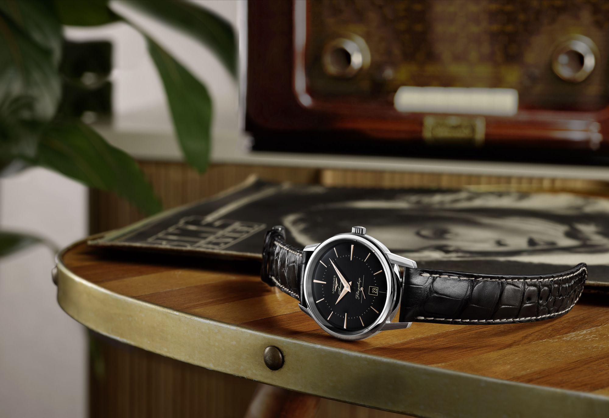Longines' Flagship Heritage Goes Black, Tributing 1950s Design