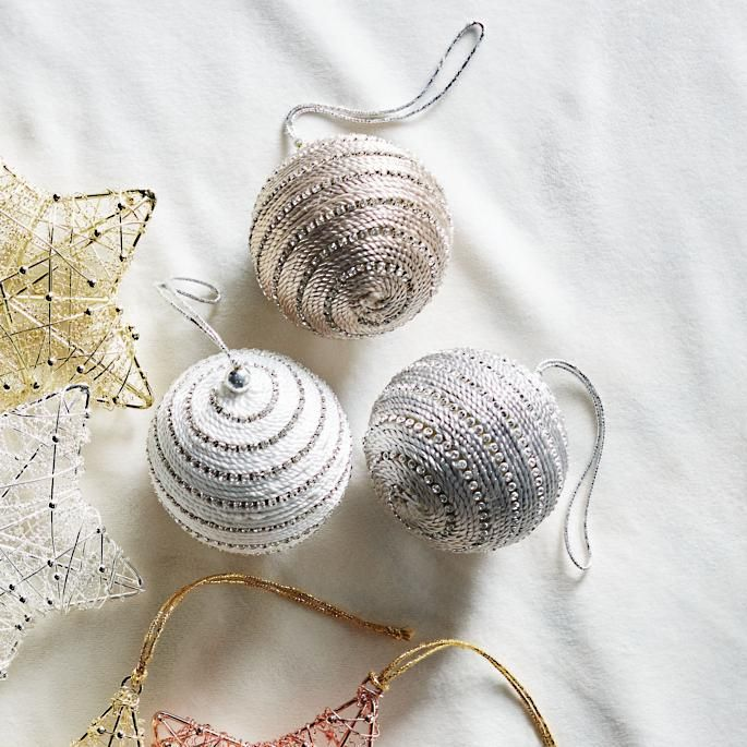 Rhinestone Braided Ball Accent Ornaments, Set of 6 - These charming handcrafted, sparkling balls feature three modern designs with two balls per design.