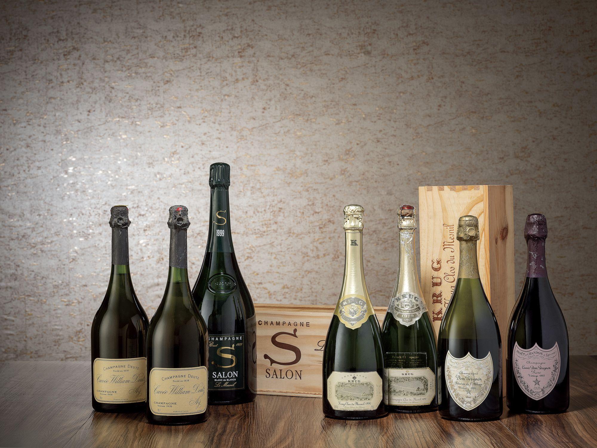2019年春季拍賣尊釀雲集午11點以香檳揭開序幕,囊括眾香檳廠的經典代表作品,如Salon 1982、歷史名莊Moët & Chandon六七零年代老香檳、Dom Pérignon OEnothèque 1996、小農香檳之王Jacques Selosse Lieux-dits Le Mesnil sur Oger Les Carelles NV、皇室御用的Louis Roederer Cristal數個年份,以及由單一葡萄園所打造的Krug Clos du Mesnil 1979白中白香檳,豐富的香檳選擇為春季拍賣的一大亮點。
