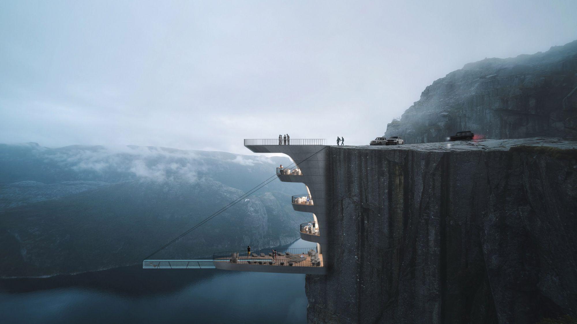 鑲嵌懸崖上的精品酒店!漂浮於峽灣的透明游泳池,360度無死角環看美景