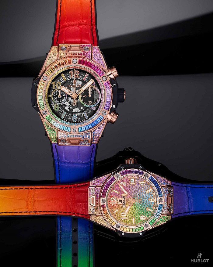 Big Bang Unico彩虹寶石計時碼錶、Big Bang One Click彩紅寶石腕錶by Hublot。