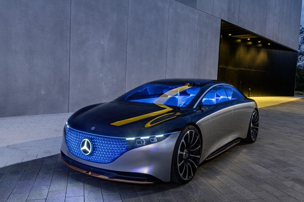 Mercedes-Benz VISION EQS, IAA 2019, der VISION EQS zeigt einen Ausblick auf ein Konzept eines vollelektrischen Fahrzeugs der Luxusklasse. Mercedes-Benz VISION EQS, IAA 2019, the VISION EQS provides an outlook on a concept for a fully-electric vehicle in the luxury class.