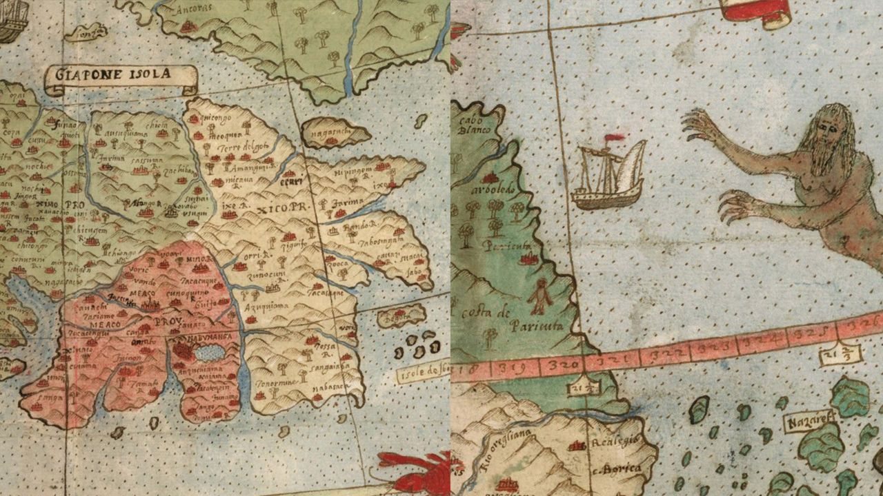 航海大冒險時期手繪地圖!人魚、妖怪、精靈都在上面,日本疆域竟然形似橢圓形