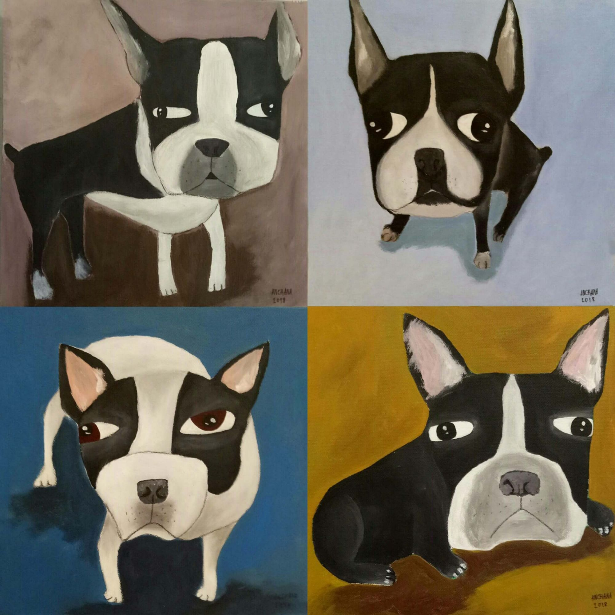 安恰娜‧恰麗亞琵朋的畫作-French Bulldog Series。(圖片由多納藝術提供)