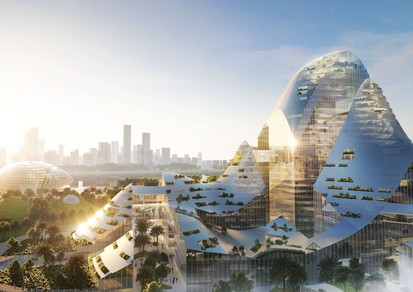 100多座建築連結成的大型網格成騰訊新總部!MVRDV公布可容納10萬人新智慧園區
