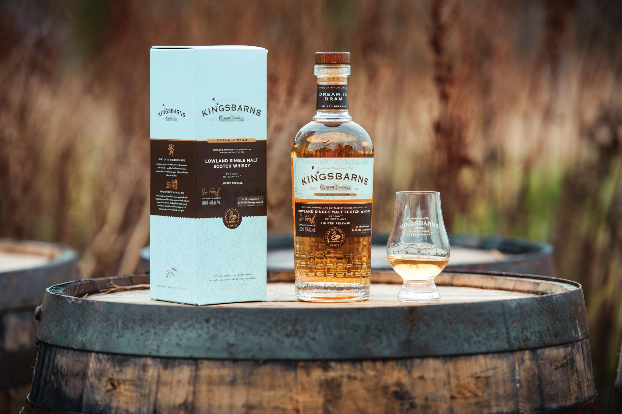KINGSBARNS, UK - January 2018:  Kingsbarns distillery releases its first bottles of single malt Scotch whisky, a three-year-old matured in first-fill ex-Bourbon casks filled in 2015. The Dream to Dram release will be the first of five annual bottlings to be delivered to the distillery's members over the next few years.  (Photograph: MAVERICK PHOTO AGENCY)