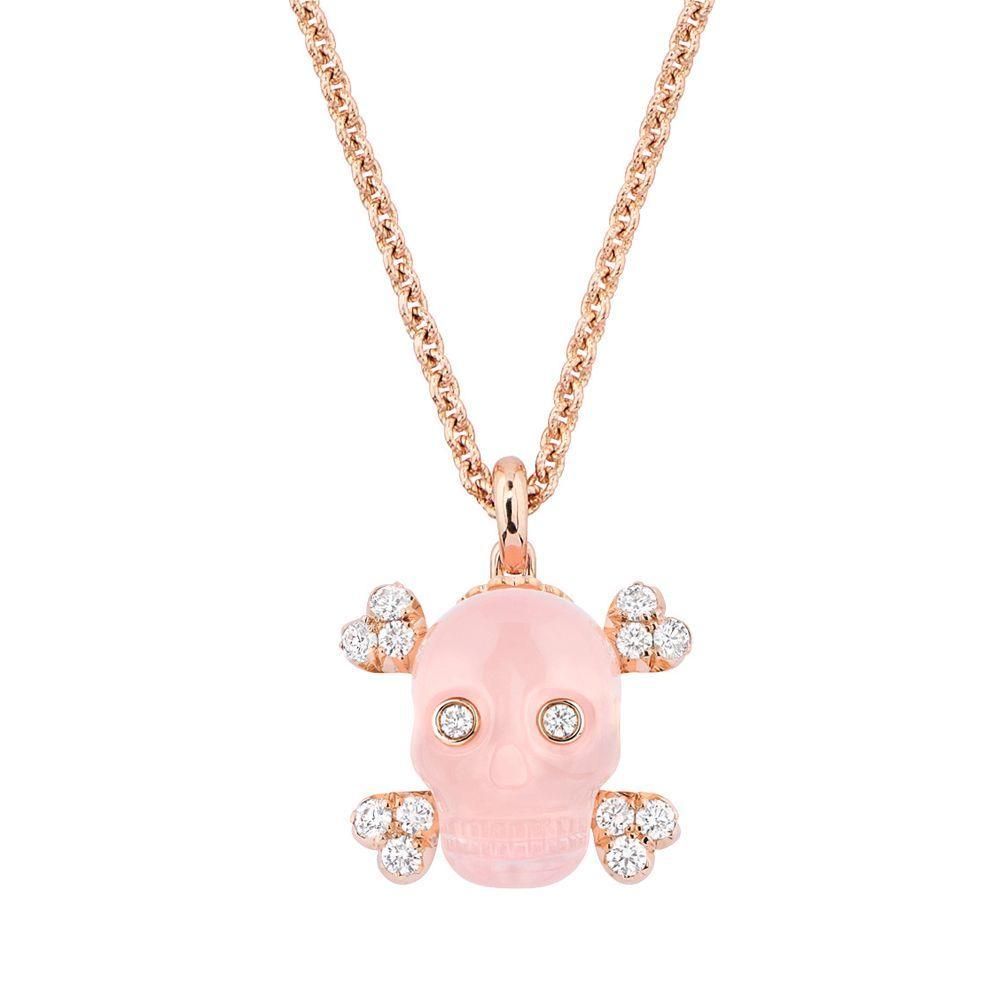 Dior Joaillerie永生骷顱粉紅石英與玫瑰金鑽石項鍊。