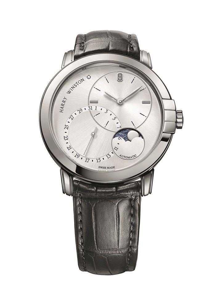 靜夜Midnight系列月相功能42毫米自動腕錶 by Harry Winston。