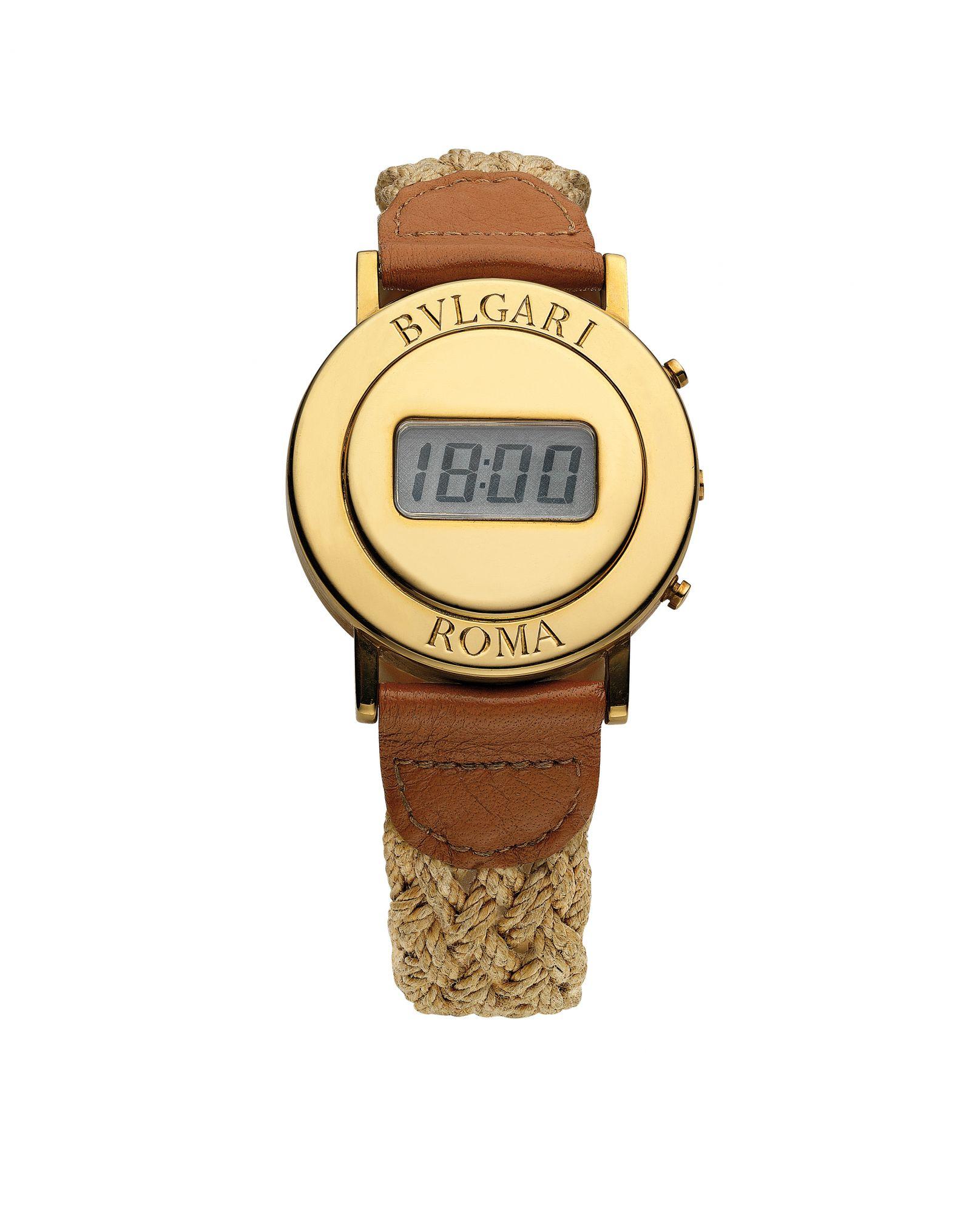 Bulgari於1975年打造,為了贈送給貴賓的圓形Bulgari Roma電子腕錶。