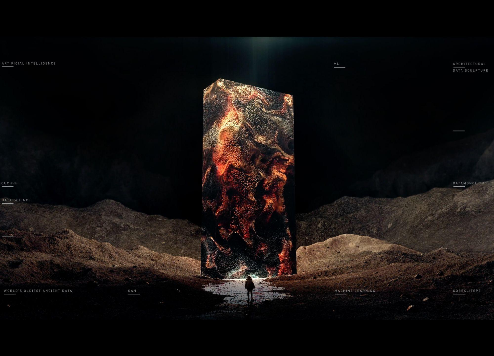 土耳其藝術家OUCHHH的《AI DataMonolith》打造出未來世界的巨石裝置。