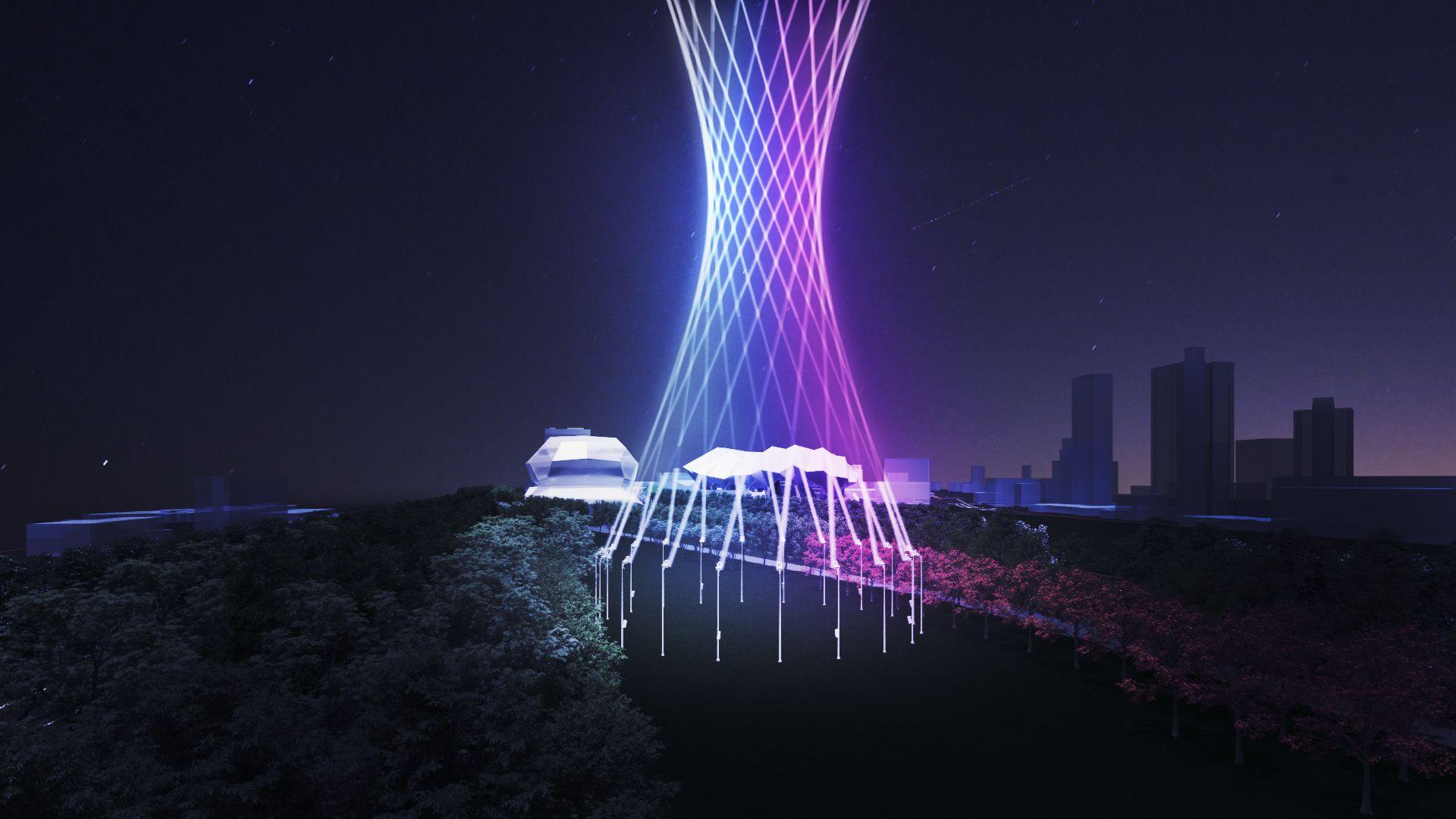 《幻流行光》以舞台聲光結合數位科技,形成光線的雕塑藝術。