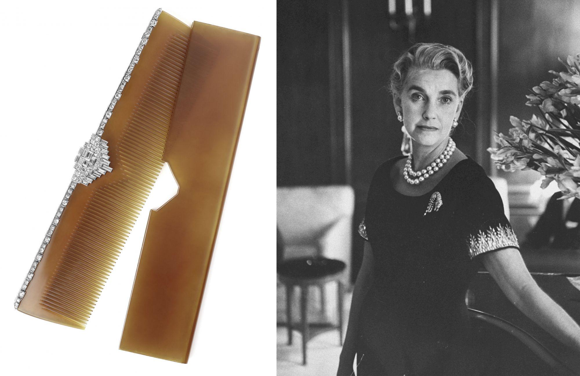 美國傳奇名媛Barbara Hutton擁有數不盡的珠寶珍品,此為她曾擁有的玳瑁鑲鑽髮梳 by Cartier。
