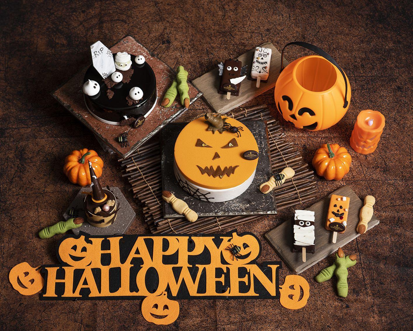 中央為萬聖節南瓜蛋糕 Pumpkin Halloween Cake。