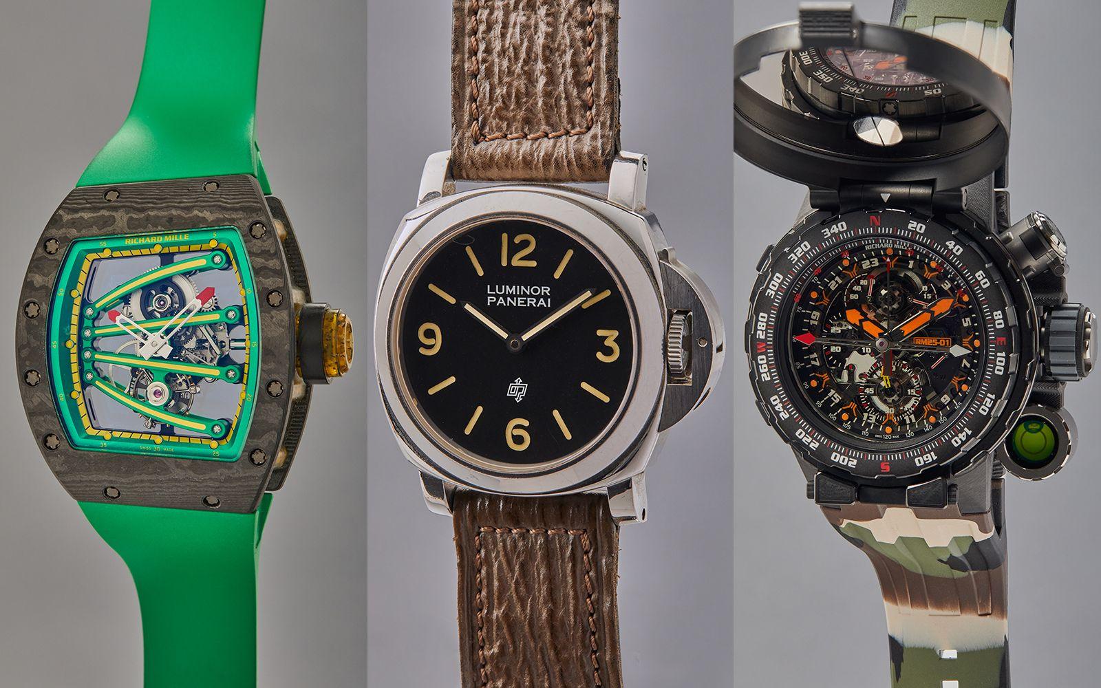 (由左至右)Richard Mille「Yohan Blake Beast」陀飛輪腕錶,型號 RM059-01、沛納海鋼製腕錶,型號 PAM5218-201/a ,曾在電影《十萬火急》中配戴、Richard Mille「Adventure」陀飛輪計時腕錶,型號 RM025-01。