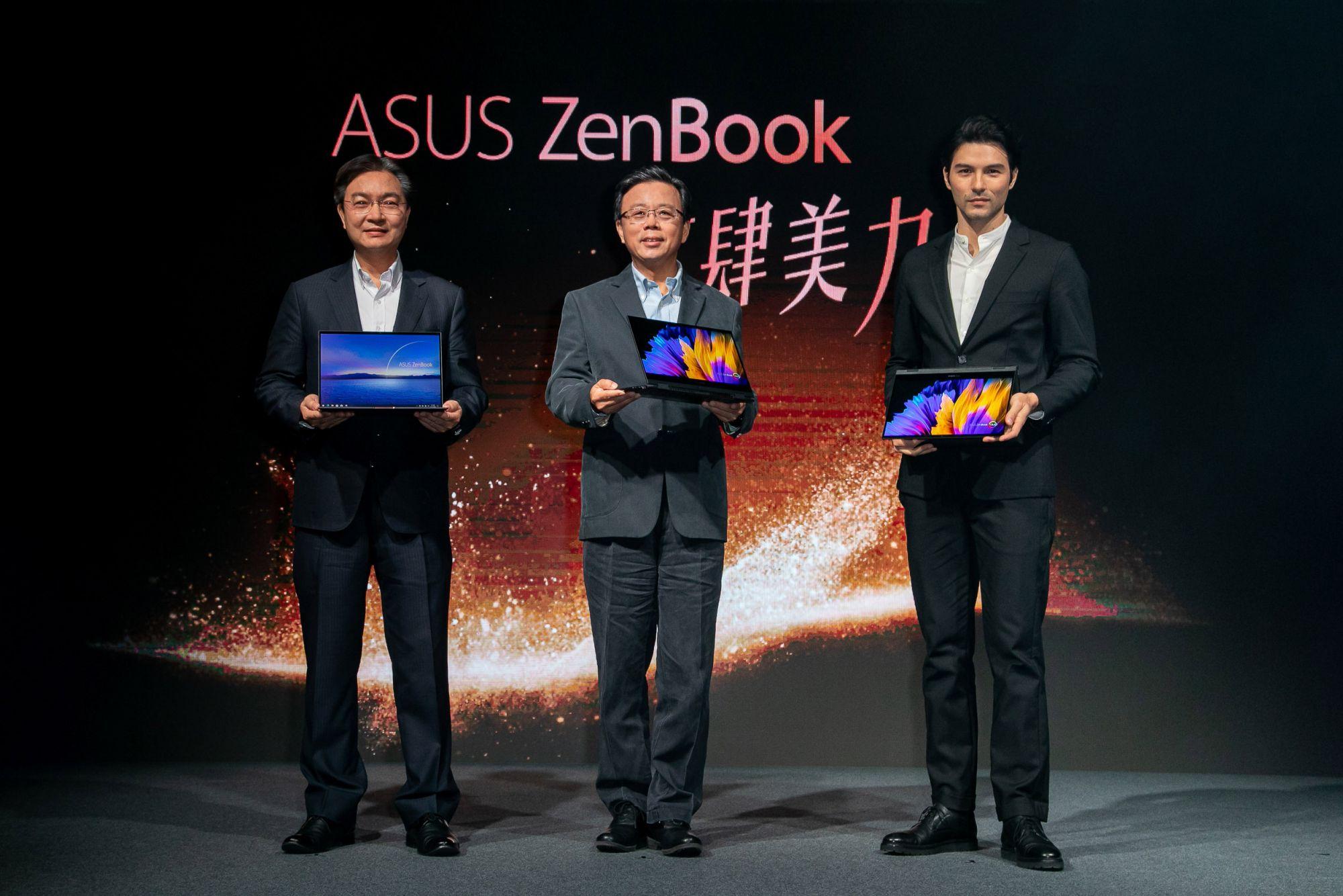 左起,華碩聯合科技總經理林福能、華碩共同執行長胡書賓及ZenBook產品大使鳳小岳出席ZenBook新品記者會。