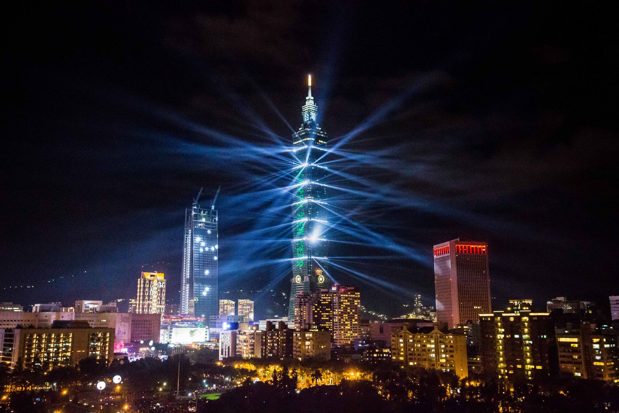 TAIPEI, TAIWAN - JANUARY 1:  Taipei 101 is lit up during New Years Eve celebrations just after midnight on January 1, 2017 in Taipei, Taiwan.  (Photo by Billy H.C. Kwok/Getty Images)