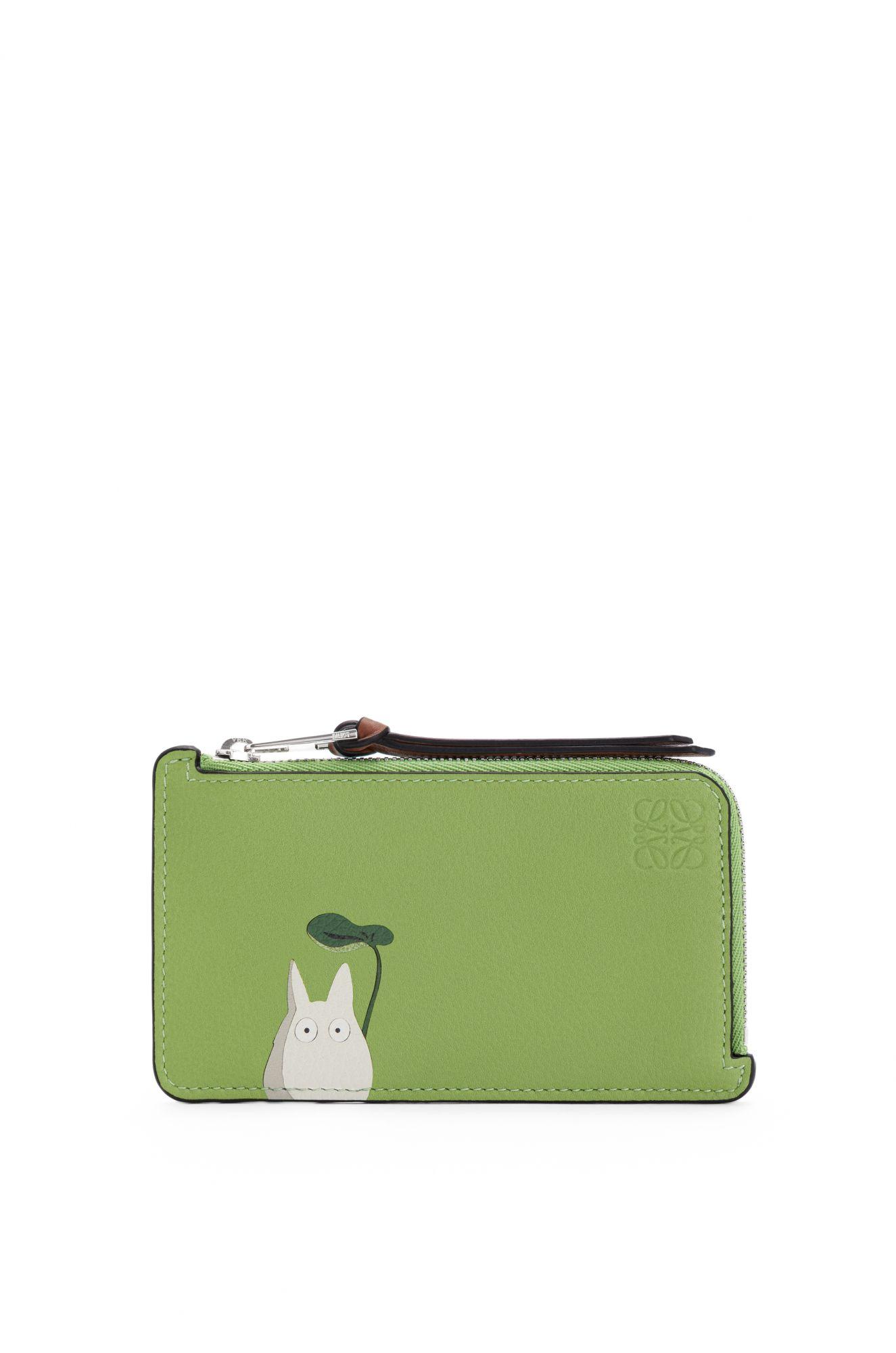 Totoro 系列蘋果綠龍貓小牛皮拉鍊卡夾