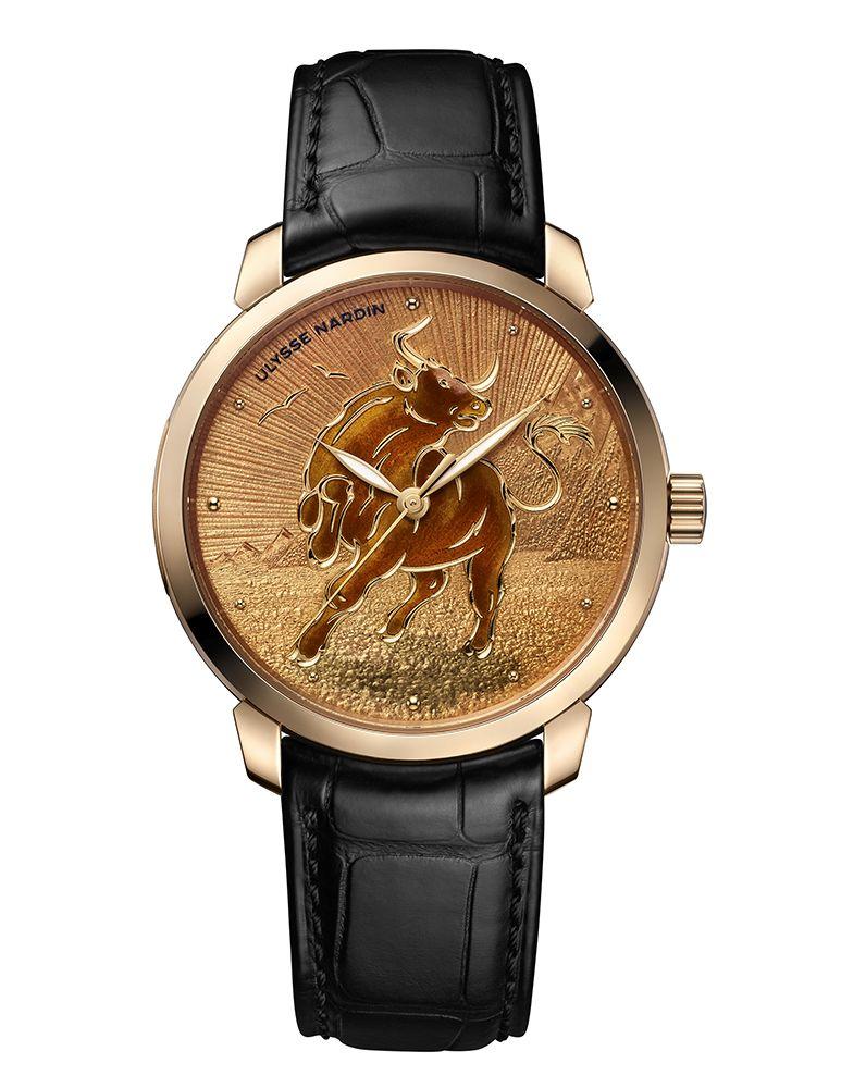 鎏金系列金牛生肖腕錶 by Ulysse Nardin。