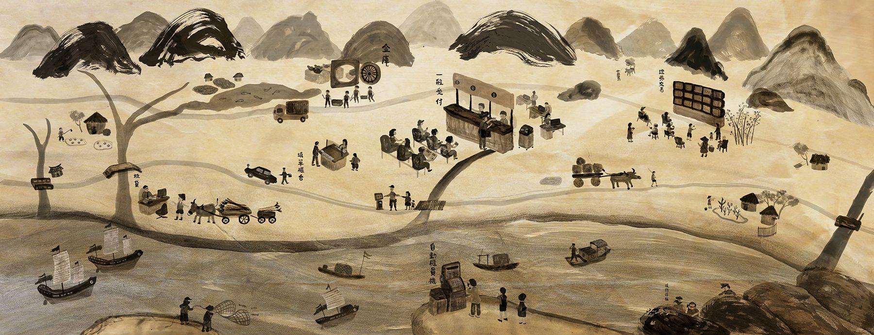 邀得跨足劇場與插畫的 ALLBOSS ,為北台南分行親自創作《我古時候都去銀行》畫作。圖⽚來源:Plan b